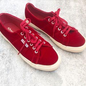 New Superga Red Velvet Sneakers